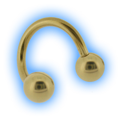 Gold Plated Eyebrow Twister Spiral & Balls - 1.2mm (16G)