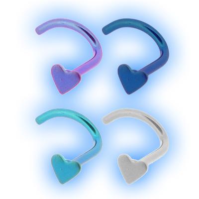 Heart Titanium Bent Nose Stud
