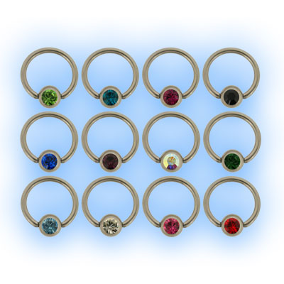1.6mm (14g) Polished Titanium Ball Closure Ring - Jewelled Ball