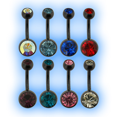 Black PVD Coated Jewelled Steel Belly Bar Bananabell