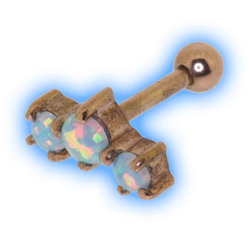 Rose Gold Triple Opal Ear Stud