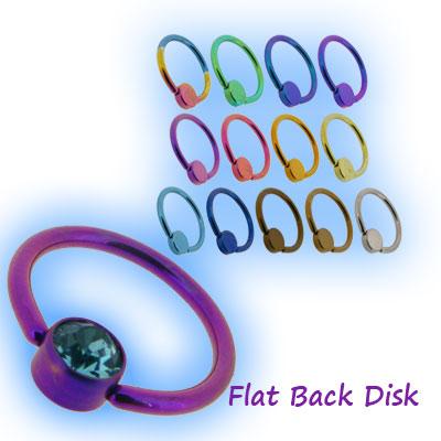 1.2mm (16g) Titanium Flat Back Ball Closure Ring - Jewel