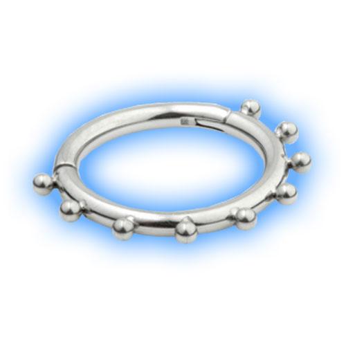 Titanium Hinged Segment Ring - Dotty ball design