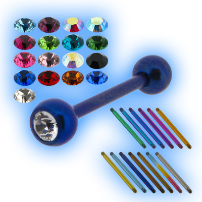 Coloured Titanium Jewelled Barbell - 1.2mm (16g)