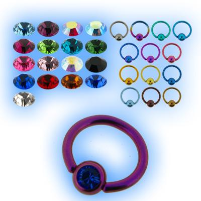 1.2mm (16g) Titanium Ball Closure Ring - Jewelled Ball