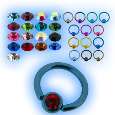 1.6mm (14g) Titanium Ball Closure Ring - Jewelled Ball