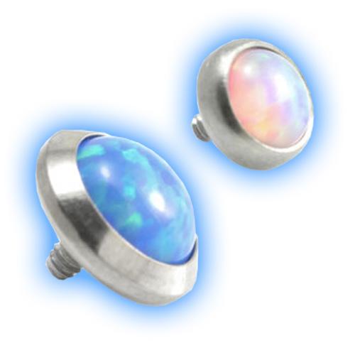 Internally Threaded Domed Opal Disc - 1.2mm (16 gauge)