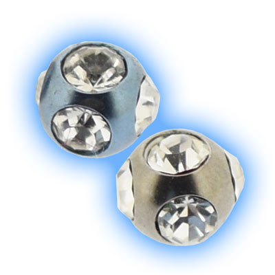 Titanium Multigem Ball for piercing jewellery - 1.2mm (16g) x 3mm
