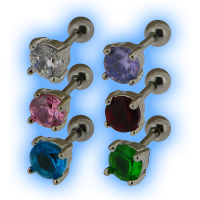 Upper Ear Stud Tragus Bar Clawset Jewel