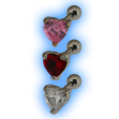 Upper Ear Tragus Jewel Heart Gem Ear Stud
