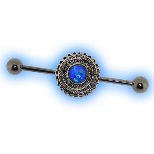 Tribal Sun Opal Industrial Barbell