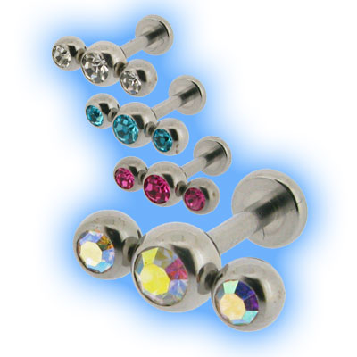Triple Gem Steel Labret - 1.2mm (16 gauge)