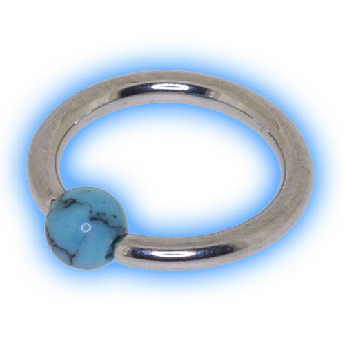 1.2mm (16g) Stainless Steel Ball Closure Ring with Turquoise Ball