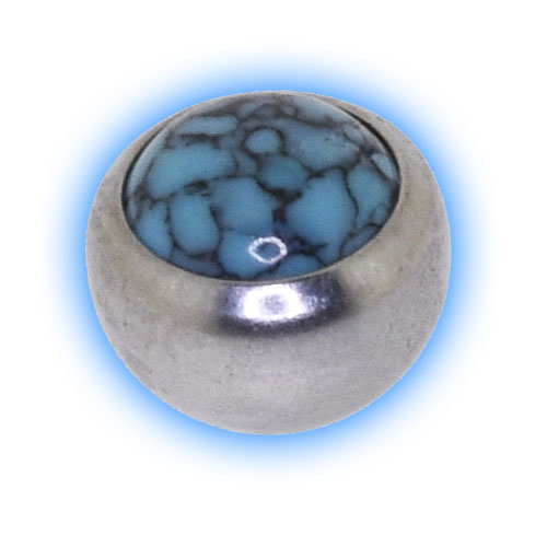 Stainless Steel Screw On Ball with Turquoise Stone - 1.6mm (14 gauge)