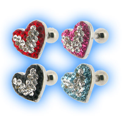 Multi Jewelled Contrast Heart Tragus Bar