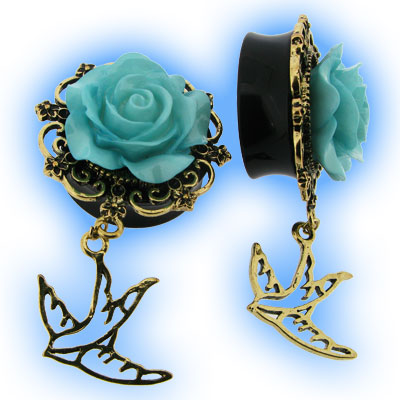 Ear Plug with Blue Flower and Dangling Swallow Bird