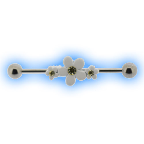 Scaffold Barbell with white Daisies for Industrial Ear Piercing