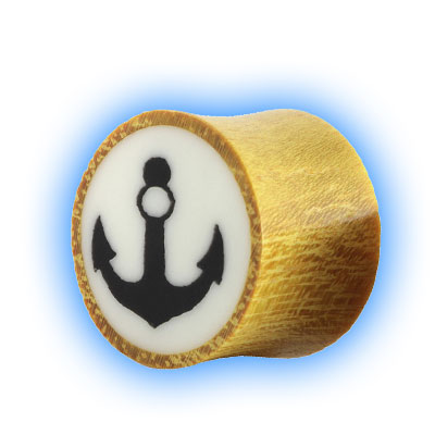 Pair of Wood Flesh Plugs with Anchor Design