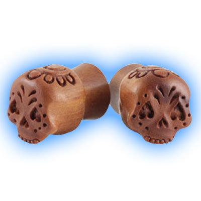 Pair of Carved Wooden 3D Flesh Plugs with Candy Skull Flower