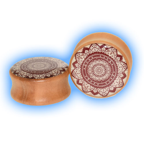 Wooden Flower Pattern Ear Plug for stretched lobes