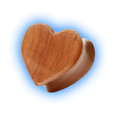 Pair of Sawo Wood Flesh Plugs Heart Shaped
