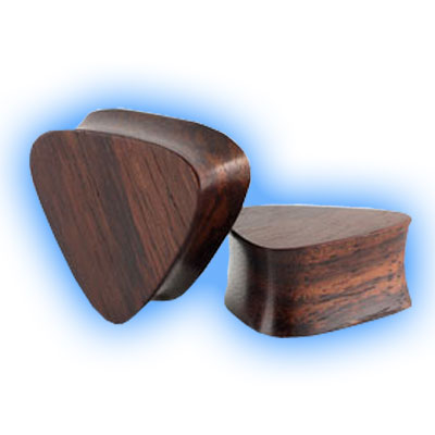 Pair of Sono Wood Flesh Plugs Triangle Shaped