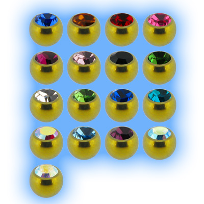 Yellow Titanium Screw On Jewelled Ball - 1.6mm (14g)