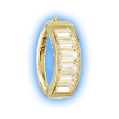 Gold Rectangle Gem Hinged Ring