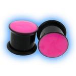 Acrylic Ear Lobe Plug with Pink Enamel inlay