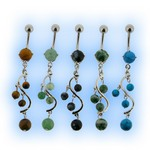 Natural Stone Belly Bar - Swirl Dangle