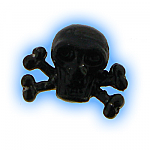 Black PVD Screw On Pirate Skull Crossbones - 1.6mm (14g)