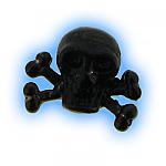 Black PVD Screw On Pirate Skull Crossbones - 1.6mm (14g)