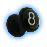 Acrylic Fake Ear Plug - 8 Ball