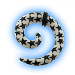 Acrylic Ear Stretching Spiral - Black Star On White