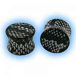 Ear Stretching Plug Acrylic Snake Skin - Black