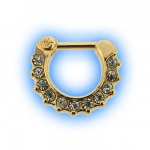 Gold Plated Clear Jewel Septum Clicker