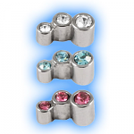 Stainless Steel Screw On Jewelled Gem Trio - 1.2mm (16g)