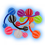 Beach Ball Striped Acrylic Belly Bar Value Set of 8