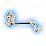 Decorative Nipple Piercing Bar - Dragon