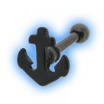 Black Anchor Ear Stud