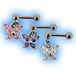Upper Ear Stud Tragus Bar Jewelled Butterfly Dangly