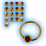 1.6mm (14g) Gold Plated Ball Closure Ring - Jewelled