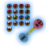 Rainbow Titanium Labret Stud & Jewelled Ball - 1.2mm (16g)