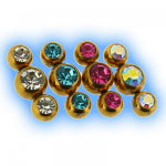 Gold Plated Triple Gem Attachment - 1.6mm (14g)