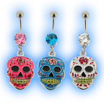 Candy Skull Tattoo Dangling Belly Bar