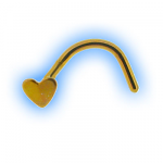 Yellow Heart Titanium Bent Nose Stud