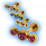 Gold Plated Triple Gem Steel Labret - 1.6mm (14 gauge)