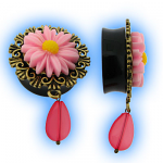 Ear Plug with Pink Daisy Flower and Dangling Teardrop