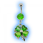 Belly Bar - Lucky Clover Shamrock Dangle