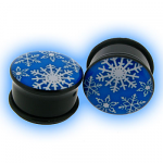Acrylic Single Flared Plug with Snowflake Design